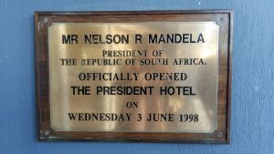 Commemorative plaque at the entrance, The President Hotel
