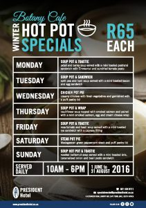 Botany Cafe Hot Pot Winter Warmer Lunch Specials R65